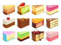 Cream cake slices pieces. Vector illustrations set in cartoon style Royalty Free Stock Photo