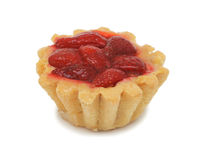 Cream cake with strawberries, isolated Stock Photo