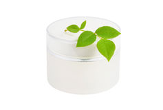 Cream can and green leaf Stock Image