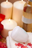 Cream and candles stock photo