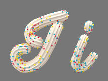 Cream and candy font. White cream and color candy font. isolated background. 3D illustration Royalty Free Stock Photography