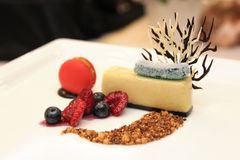 Cream Caramael dessert with berries Royalty Free Stock Image