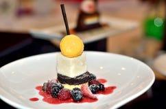 Cream Caramael dessert with berries Stock Photos