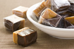 Cream caramel and chocolate sweets Stock Image