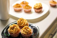 Cream caramel cupcake on black board decorated by almonds Stock Photography