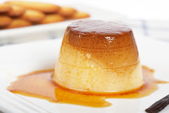 Cream caramel dessert and cookies Royalty Free Stock Images