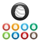 Cream caramel icons set color stock illustration