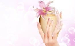 Cream for care face Stock Photo