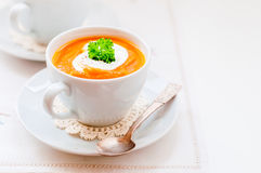 Cream Carrot Soup in a Cup Stock Photos