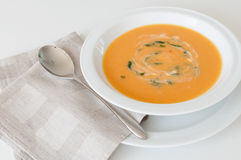 Cream carrot soup Stock Photos