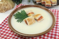 Cream of celery soup Stock Photos