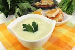 Cream of celery soup Royalty Free Stock Photography