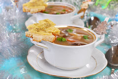 Cream cep soup with cheese toast for christmas Stock Photo