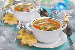 Cream cep soup with cheese toast for christmas Royalty Free Stock Photography
