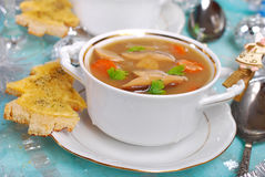 Cream cep soup with cheese toast for christmas Stock Photos