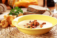Cream of chanterelle mushroom soup Royalty Free Stock Photos