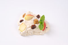 Cream cheese with apples, nuts and raisins Stock Photography