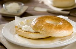 Cream cheese bagel Stock Image