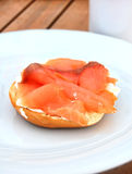 Cream Cheese Bagel and Smoked Salmon Stock Photo