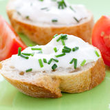 Cream cheese on baguette Royalty Free Stock Photo