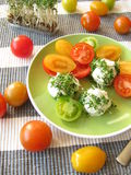 Cream cheese balls with cress Royalty Free Stock Images