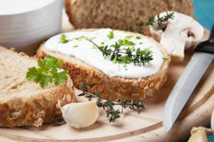 Cream cheese and bread Royalty Free Stock Photography