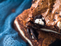 Cream cheese brownies with cookies on blue. Macro Royalty Free Stock Images