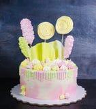 Cream cheese cake with chocolate twist and bright merengue decor Stock Photo