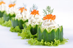 Cream cheese with caviar on cucumber Royalty Free Stock Photography