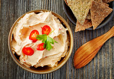 Cream cheese with chili and tomato, dip sauce Royalty Free Stock Images