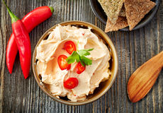 Cream cheese with chili and tomato, dip sauce Stock Images