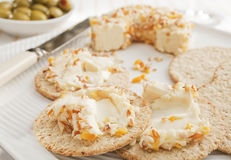 Cream Cheese and Crackers Stock Photo