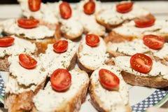 Cream cheese crostini Royalty Free Stock Image