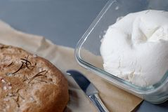 Cream cheese with focaccia Stock Images