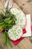 Cream Cheese with fresh Herbs Stock Photos