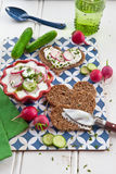 Cream cheese with fresh vegetables Stock Image