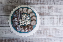 Cream cheese galaxy cake with cookies and chocolate marmelade. A cream cheese galaxy cake with cookies and chocolate marmelade Stock Photo