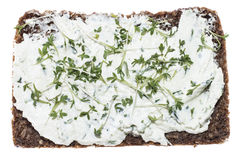 Cream Cheese with garden Cress (on white) Royalty Free Stock Photos