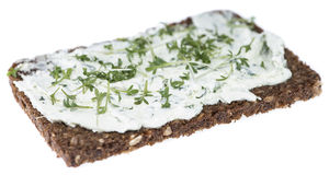Cream Cheese with garden Cress (on white) Royalty Free Stock Photo