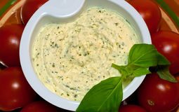 Cream Cheese With Garlic And Greens Stock Images