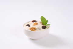 Cream cheese with nuts and raisins Royalty Free Stock Images