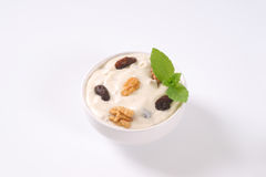 Cream cheese with nuts and raisins Stock Photo