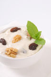 Cream cheese with nuts and raisins Royalty Free Stock Image