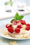 Cream cheese pancakes with raspberries Stock Photos