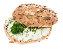 Cream Cheese on a roll with herbs Stock Image