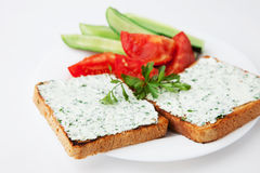 Cream cheese sandwich with vegetables Royalty Free Stock Photo
