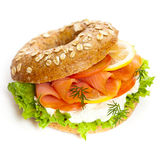 Cream cheese and smoked salmon bagel Stock Photos