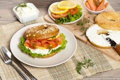 Cream cheese and smoked salmon bagel Stock Photos