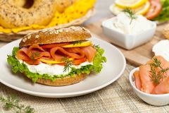 Cream cheese and smoked salmon bagel Royalty Free Stock Photos
