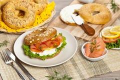 Cream cheese and smoked salmon bagel Stock Image
